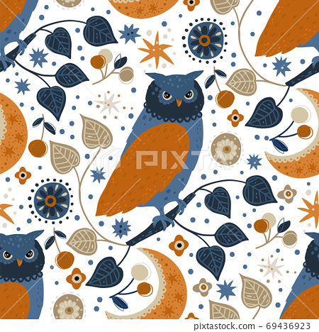 Nordic owl seamless vector pattern. 69436923