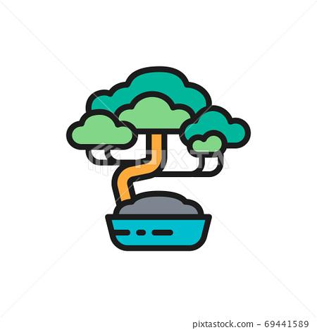 Vector bonsai tree flat color line icon. 69441589