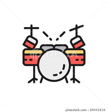 Drum kit, musical instrument flat color line icon. 69441610