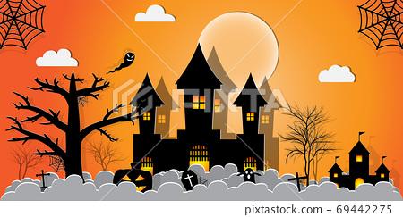 Halloween Night Concept Vector.paper art style. 69442275