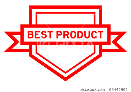 Pentagon vintage label banner in red color with word best product on white background 69442993