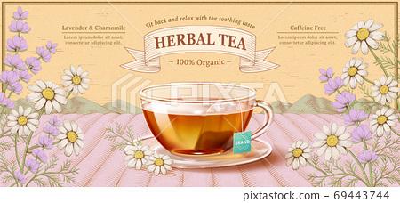 Engraving herbal tea ads 69443744