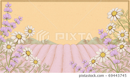 Engraving lavender field 69443745