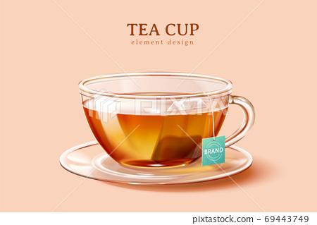 3d illustration glass tea cup 69443749