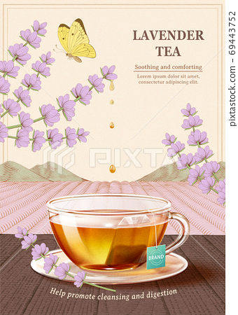 Engraved soothing Lavender tea ad 69443752