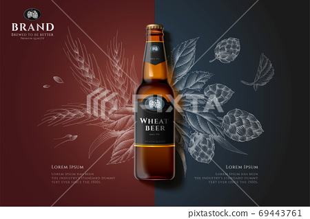 Engraving premium beer ad 69443761
