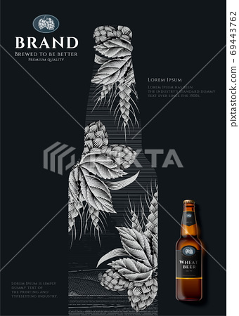 Wheat beer ads in engraving style 69443762