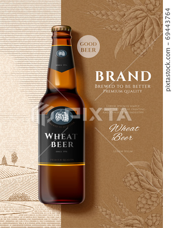 Premium wheat beer advertisement 69443764