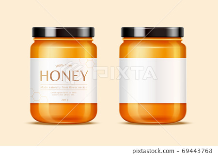 Honey jars with labels 69443768