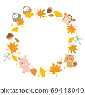 Autumn frame illustration of forest animals and autumn leaves 69448040