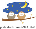 Illustration of owls perched on a tree branch 69448041