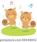 Illustration of dancing squirrels 69448042