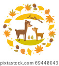 Deer parent and child and autumn frame illustration 69448043