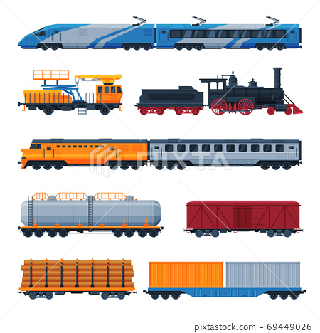 Trains Collection, Side View of Passenger and Cargo Wagons, Railroad Transportation Flat Vector Illustration on White Background 69449026
