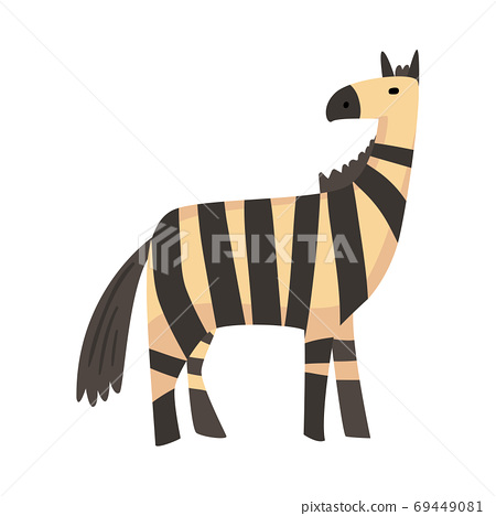 Cute Zebra Jungle Animal, African Safari Travel Cartoon Vector Illustration on White Background 69449081