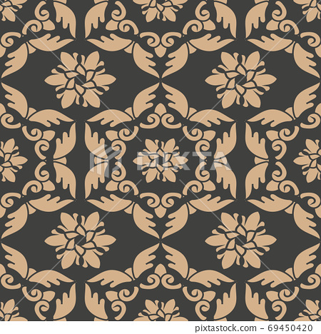 Vector damask seamless retro pattern background oriental spiral 69450420
