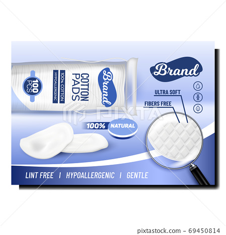 Cotton Pads Blank Bag Promotional Banner Vector 69450814