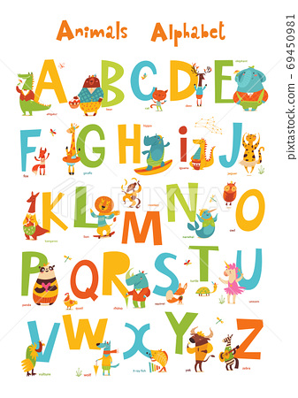 Vector animals ABC with cute cartoon animals characters and letters. 69450981