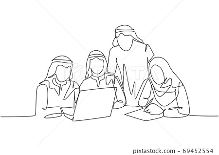 One continuous line drawing of young muslim startup team members serious discussing marketing strategy 69452554