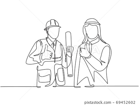 One continuous line drawing of muslim businessman and building constructor collaboration and give thumbs up 69452602