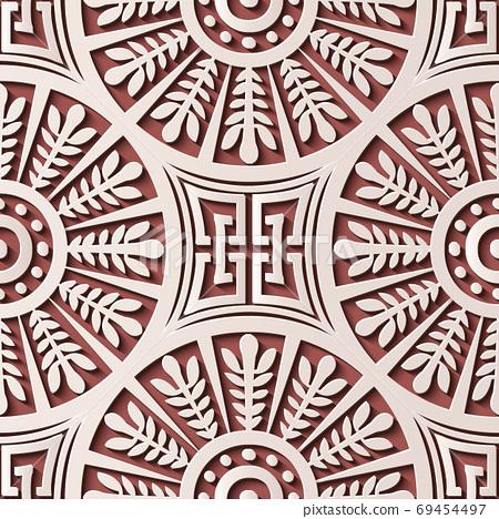 Seamless relief sculpture decoration retro pattern round spiral 69454497