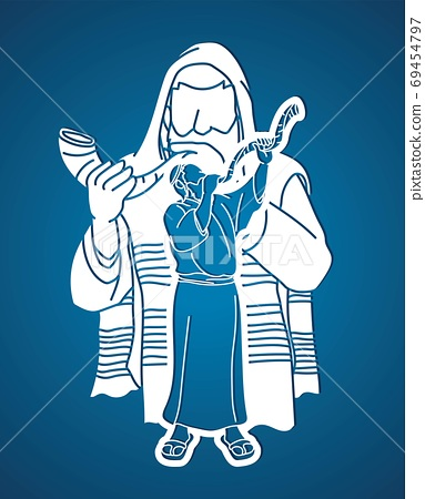 Feast of trumpets. Jewish people blowing the shofar horn cartoon graphic vector 69454797