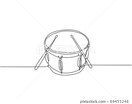 One single line drawing of little drum with drum sticks 69455248