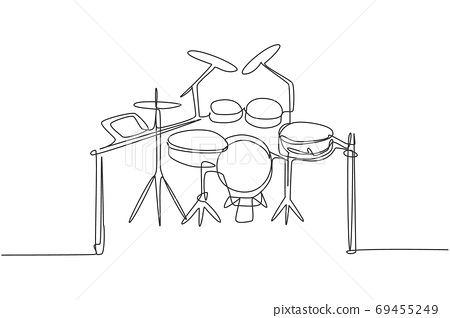 Continuous single line drawing of electronic drum band set 69455249