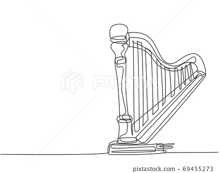 One single line drawing of elegant classical harp 69455273