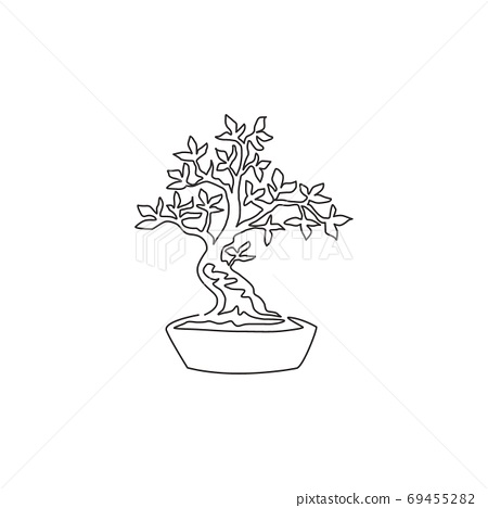 One continuous line drawing beauty and exotic bonsai tree for home wall decor art poster print 69455282