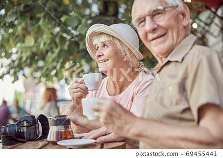 Two elderly people enjoying their leisure time 69455441