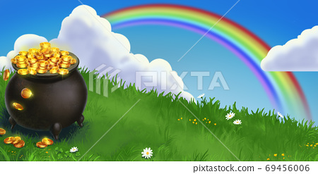 Saint patrick's day cast iron bowler hat with leprechaun gold big rainbow sunny day. Green meadow on a sunny day with daisies and clouds rainbow illustration 3d. 69456006