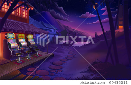 Asian temple at night sunset sky starting river house bamboo garden 3d illustration art background. Casino at night in asia slot machine. 69456011