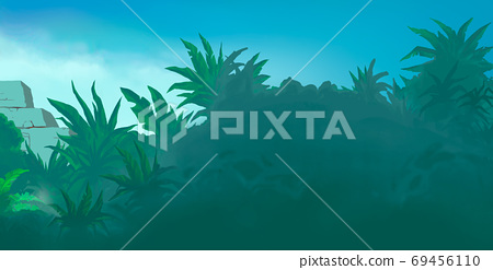 Large palms on the background of the destroyed pyramid of the Aztecs illustration background realism art. 69456110
