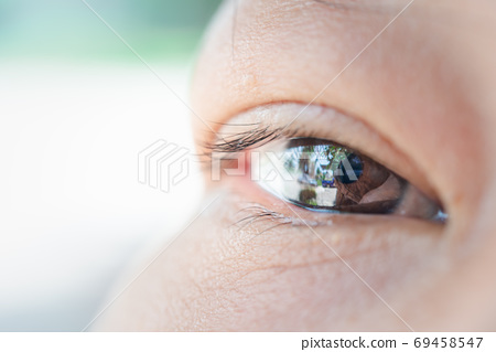 Macro of eye, eyeball asian woman concept vision 69458547