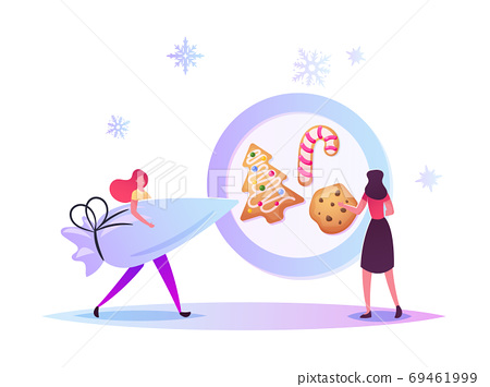 Festive Activity Preparation for Xmas Holidays Celebration. Tiny Characters Baking Huge Christmas Bakery and Sweets 69461999