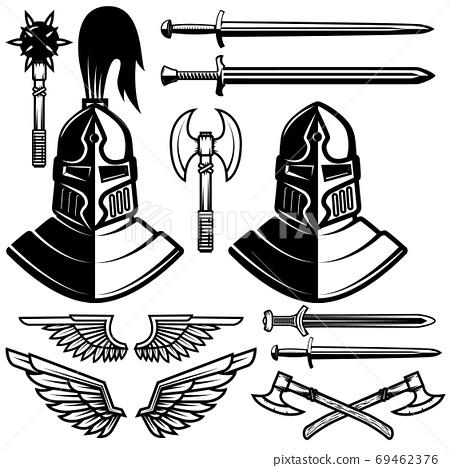 Knight helmets, swords, axes. Design elements for logo, label, emblem, sign. Vector illustration 69462376