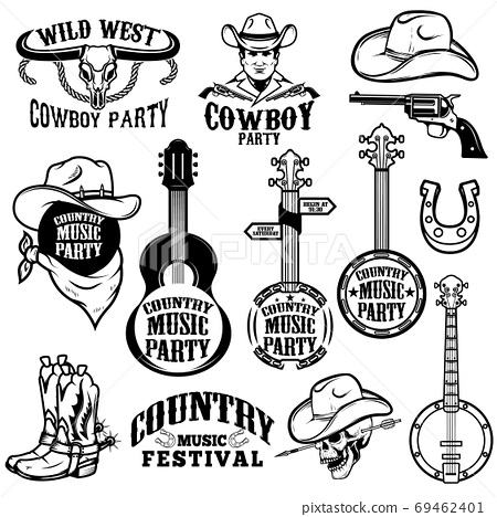 Set of country music festival emblems and design elements. Cowboy party. Vector illustration 69462401