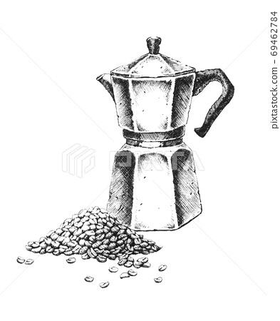 Geyser coffee maker. Hand-drawn black and white illustration. Jp 69462784
