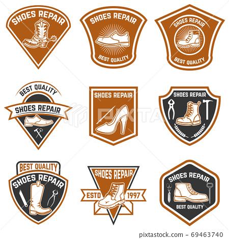 Set of shoe repair emblems. Shoe repair tools. Design elements for logo, label, emblem, sign. 69463740