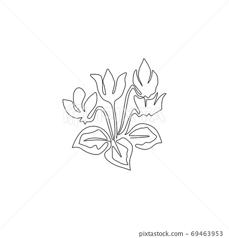 One continuous line drawing of beauty fresh cyclamen sowbread for home decor wall art poster print 69463953