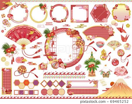 新年/新年快樂/新年日語材料插圖集/無字符 69465252