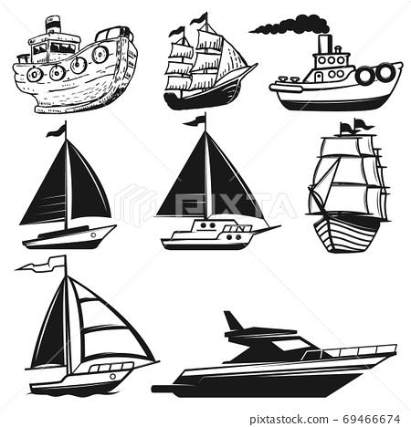 Set of boat, yachts illustrations isolated on white background. 69466674