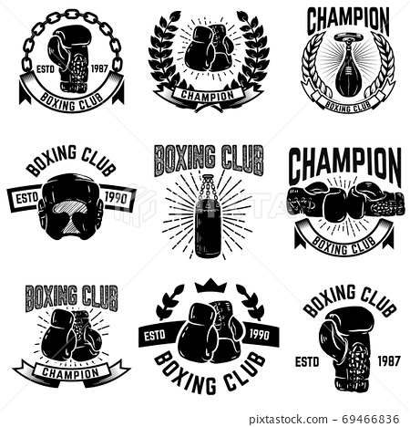 Set of boxing club emblems. boxing gloves. 69466836