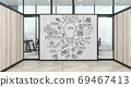 A modern office with creative business strategy sketch drawn on white wall 69467413