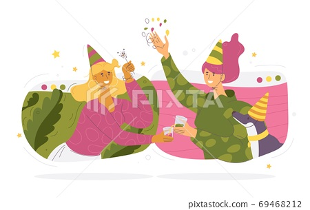 Women friends in birthday hats celebrating party via videoconference service. Lovely young characters isolated on white background. Distance communication concept in vibrant colors 69468212