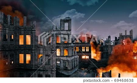 Burning building ruins of destroyed after war city 69468638