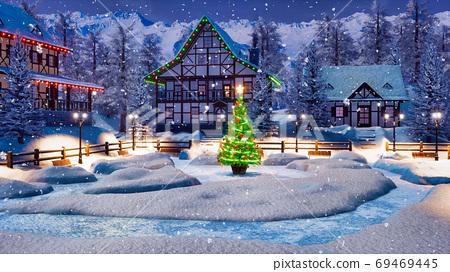 Snowy alpine mountain village at Christmas night 69469445