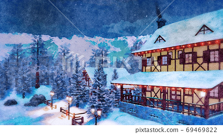 Alpine mountain house at winter night watercolor 69469822