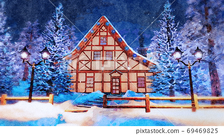 Half-timbered house at winter night in watercolor 69469825